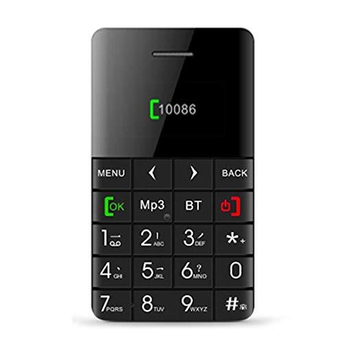 Mobile Phone CELINEZL Qmart Q5-Kartenhandy, Netzwerk: 2 G, 5,5-mm-Mini-Slim-Kartentelefon mit ultradünner Tasche, 0,96 Zoll, QWERTZ-Tastatur, BT, Schrittzähler, Remote Notifier, MP3-Musik, Remote Capt -