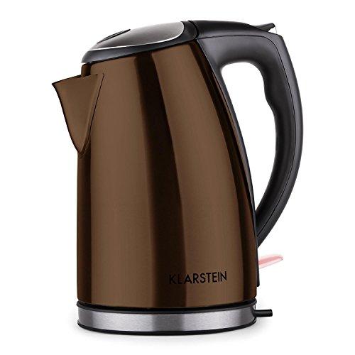 Klarstein ariela bollitore elettrico bollitore acqua (1,7 litri, 2200 watt, contenitore in acciaio inox, base ruotabile, luce led) marrone
