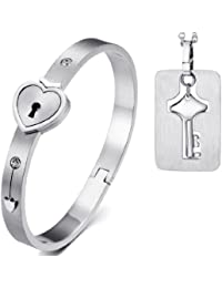 JewelryWe Joyas amor plata del acero inoxidable pulsera y collar de hombres mujeres 2piezas corazón bloqueo y llave Collar con Pulsera en Pareja