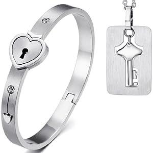 JewelryWe Schmuck 2tlg Edelstahl Herz Sperren Armband Armreif & Schlüssel Hundemarke Anhänger Halskette Kette Set