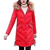 KUDICO Damen Mäntel Winter warm Verdickte Faux Pelz Kapuzen Lange Parka Outwear über Mantel Ober Mantel Baumwolle-gepolsterte Jacken,Angebote! (rot, EU-46/CN-5XL)