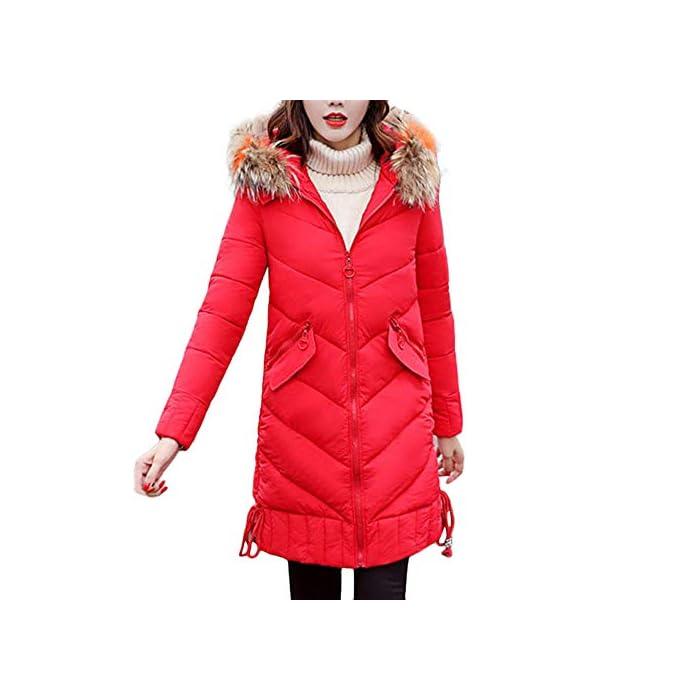 URSING Mantel Damen Winter Warm Dicker Mantel mit Kapuze Parka Schlank Baumwolle Warm gefütterte Jacke Winterjacke…