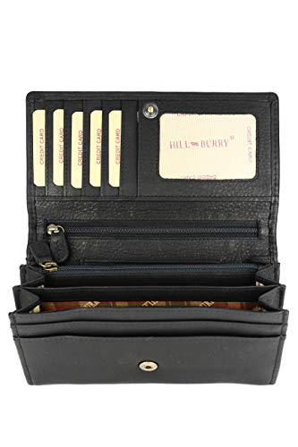 Hill Burry hochwertige Vintage Leder Damen Geldbörse Portemonnaie langes Portmonee Geldbeutel...