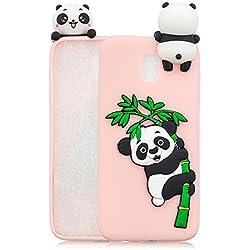 HopMore Funda Samsung Galaxy J5 2017 Silicona Motivo 3D Divertidas TPU Gel Kawaii Ultrafina Slim Case Antigolpes Caso Protección Flexible Cover Design Gracioso - Panda Rosado