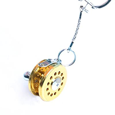 Cool Fly Fishing Reel Miniature Novelty Gift Charm Diameter 25 Mm Key Chain New from Mobilekits town