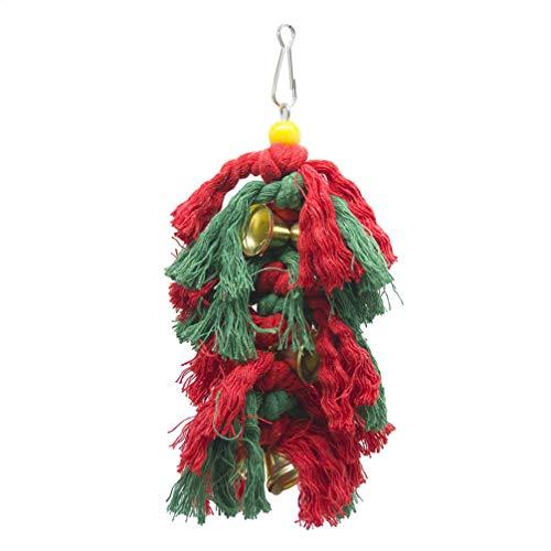 POPETPOP 1 stück papagei Spielzeug Weihnachten Glocke baumwollseil hängen lustige kreative käfig zubehör beißen Spielzeug kauspielzeug für papagei Vogel