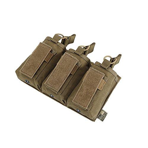 OneTigris Dreifach-Magazintasche Taktische MOLLE Mag Pouch DD18 für M4/M16/AR/AK/G36/Glock/M1911/92F (Wolf Braun)