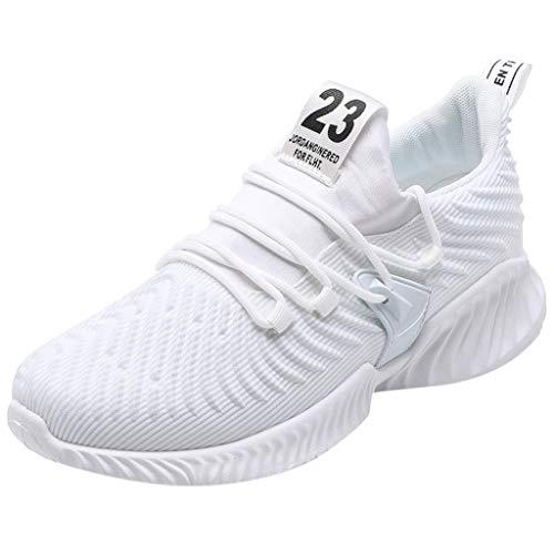 Lilicat Scarpe Running Estive Uomo Sneakers da Ginnastica Antinfortunistiche Traspiranti Scarpe da Ginnastica Antiscivolo Traspiranti Antiscivolo Casual Scarpe(Bianca,41 EU)