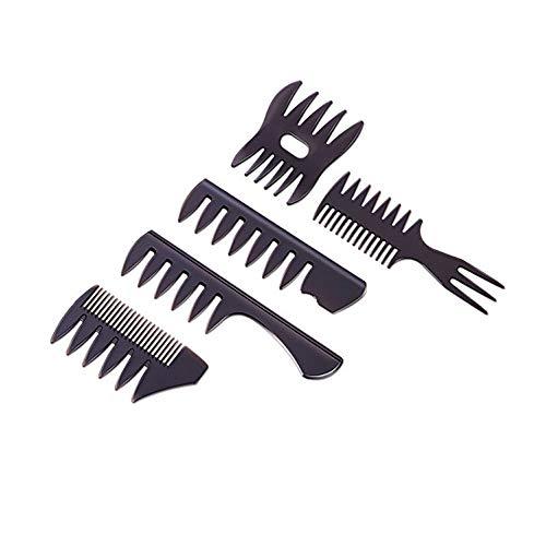 5 Pezzi Pettine Capelli Uomo Professionale SetPettine Denti LarghiPettine per lo Styling dei Capelli olio Ottimo per Tutti i Tipi di Capelli