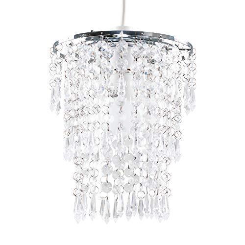 MiniSun - Majestätischer und moderner Lampenschirm mit weißen und transparenten Juwelen in Wasserfall-Stil - für Hänge- und Pendelleuchte
