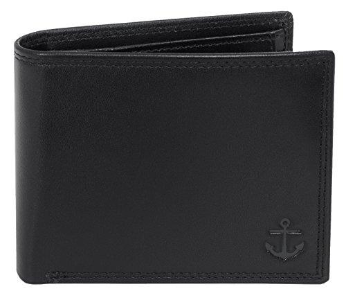 Lansburry Portemonnaie mit RFID Schutz, Geldbörse aus Leder, RFID-Blocker, Geldbeutel, Brieftasche - Liefert Schutz vor unerlaubtem Datendiebstahl (Schwarz)
