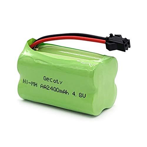 Gecoty® Wiederaufladbare AA Akkupack 4,8V 2400mAh NI-MH Batterie Pack mit SM 2P-Stecker für ferngesteuertes Spielzeug, Elektrowerkzeuge und Haushaltsgeräte