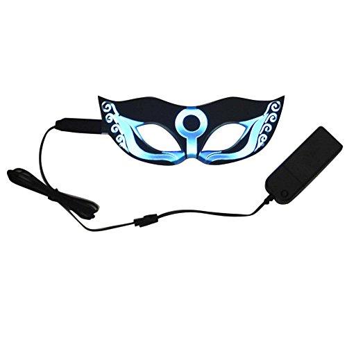 Ebilun LED Masken,leuchten blinkt leuchtende Glühen Augenmaske, Halloween Party Cosplay Dekor, wasserdicht, 4 Modi, AAA Batterie,blau (3x Halloween Kostüm Für Damen)