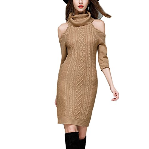 JLTPH Femme Casual Sexy Off-Shoulder Manches Longues Knit Sweater Robe Pull Robe Tricote Col Roulé Tricots Sweater Jumper color3
