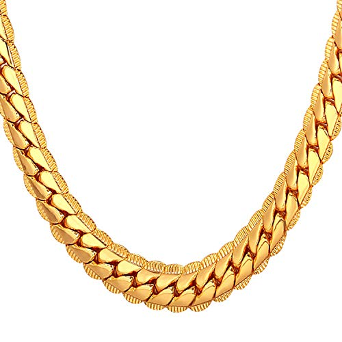 U7 Men's Chain Necklace 24 inches 18K-Gold-Plated(9Mm Wide)