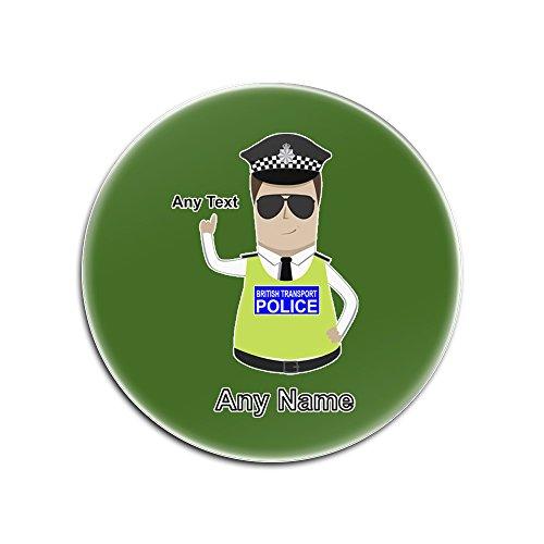 UniGift Glasuntersetzer mit britischer Transportpolizei (Polizei-Design, Farboptionen) - Name / Nachricht auf Ihrem einzigartigen Pad - BTP - Braun/Braunes Haar Polizist Hut Cap, glas, grün, Rund (Verkauf Für Polizei-hut)