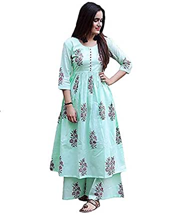 Marlin Women's Cotton Kurti with Palazzo Pant Set (Green, Small)