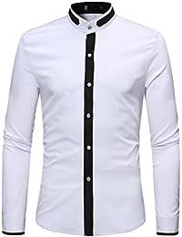 longzjhd Herren Hemden Schlank Patchwork BeiläUfig Lange ÄRmel T-Shirt  BeiläUfig Bluse Herren Longsleeve Langarm d6bdf445de