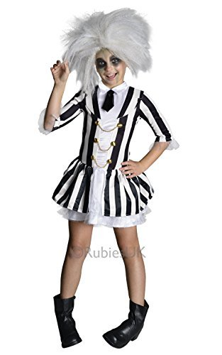Mädchen Offizielles Lizenzprodukt Beetlejuice Halloween Buch Tag Fancy Kleid Kostüm Outfit 5-10Jahre - Schwarz / Weiß, 8-10 Jahre