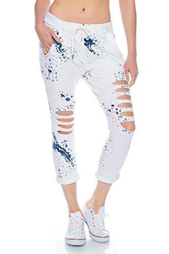 Fashionflash Damen knöchellange Hose zerissen (one Size, weiß)