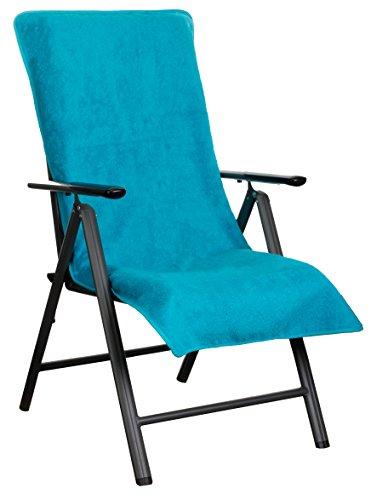Brandsseller Frottee-Schonbezug für Gartenstuhl und Gartenliege sowie als Strandliegenauflage - aus 100% Baumwolle - ca. 65 x 130 cm (Türkis)