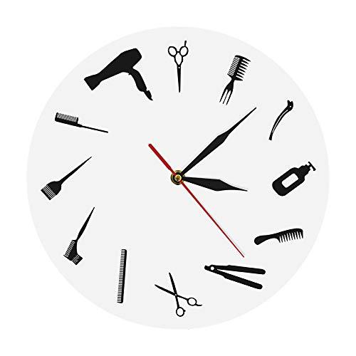 Wanduhren,Uhren Friseursalon Kommerziellen Wand Zeichen Friseur Ausrüstung Wandkunst Dekoration Friseursalon Werkzeug Schönheitssalon Modernen Stil Gut Für Zuhause Küche Wohnzimmer Schlafzimmer - Kommerziellen Uhr
