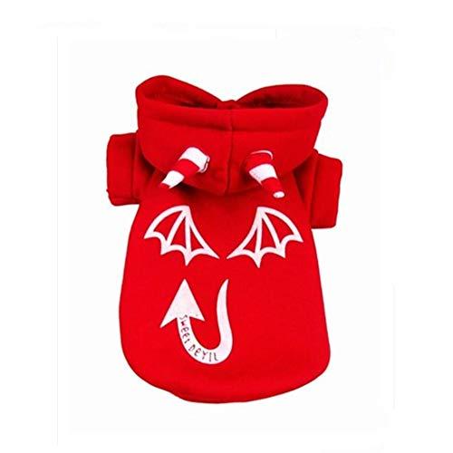 Rote Kostüm Leuchtend Haar - Sherineo Halloween Haustier Outfits Ghost Pattern Hund Kleidung leuchtende Hoodies Kostüm Outfits warme Sweatshirt Hund Bekleidung für Halloween-Party Cosplay (rot, XL)