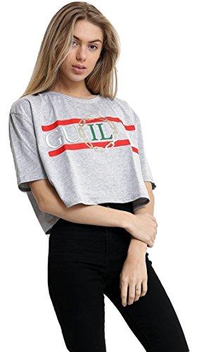Dames Recadrées Coupable Slogan Fashion Top T Shirt EUR Taille 36-42 Gris