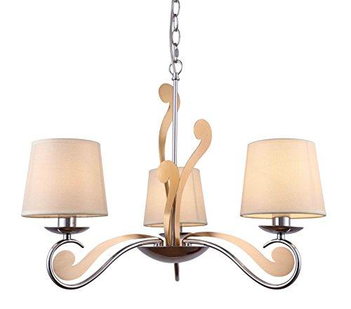 Eleganter Klassischer Kronleuchter Hängelampe Pendelleuchte für Wohnzimmer Schlafzimmer oder Esszimmer 15 Ø für E14 Chrom Gold 3-flammig Beige