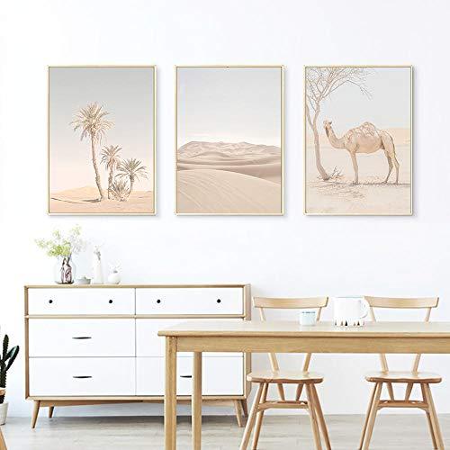 MYSY Nordic Camel Animal Poster und Drucke Desert Wall Art Leinwand Malerei Palmen Wandbilder für Wohnzimmer Dekor-40x60cmx3 Stück kein Rahmen
