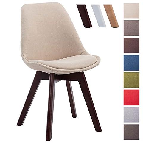 CLP Design Retro Stuhl BORNEO V2, Besucherstuhl mit Holz-Gestell, Küchenstuhl mit Stoff-Bezug Creme, Gestellfarbe: (Stoffbezug Für Stühle)