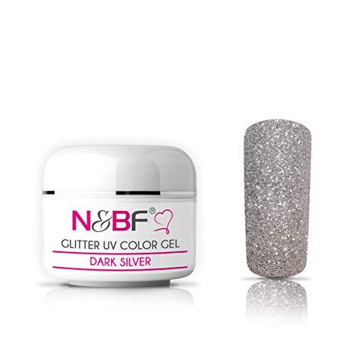 N&BF Glitter UV Gel 5ml mittelviskos | Glittergel Silber | Made in EU | Glitzer Farbgel Dark Silver | Colorgel ohne Säure + selbstglättend | Glimmer Gel für Gelnägel | Nagelgel glitzernd