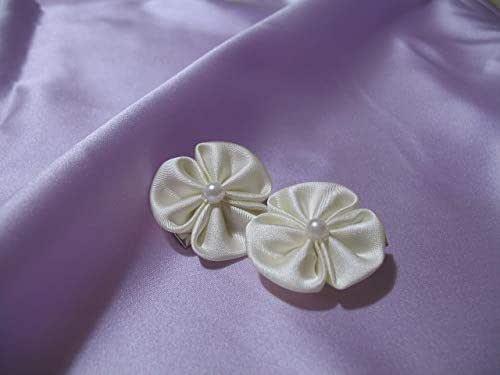 Coppia Fermagli con decoro floreale kanzashi per Prima Comunione