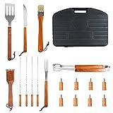 SunJas - Set da barbecue 18 pezzi comprensivo di forchettone, spazzola, pennello, pinze, spatola, facile da trasportare e da lavare, con robusta valigetta nera