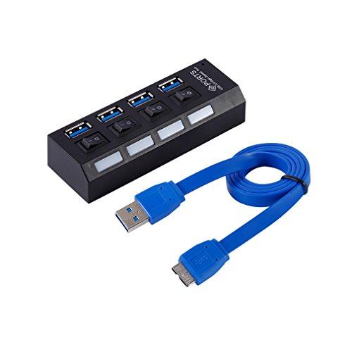 LESHP 4-Port USB 3.0 HUB, Compact USB portable à haute vitesse 3.0 Support de données Windows XP, Vista, Win7 -Noir