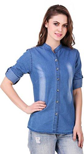 Trendy Frog Women Light monk chinease full denim shirt, Blue, Medium