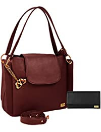 I Define You PU Leather Women And Girls Handbag & Wallet Combo (Black & Brown)