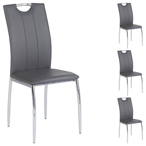 IDIMEX 4er Set Esszimmerstuhl Essgruppe Apollo, Set mit 4 Stühlen in Chrom, Lederimitat in grau