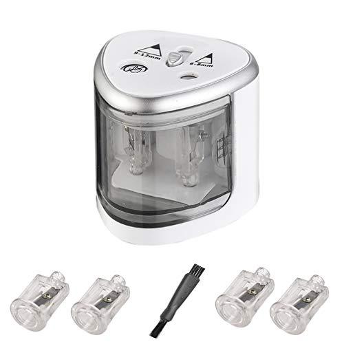 Sacapuntas Electrico Afilador de Lápices Eletric Automáticos con 2 orificios de Plàstico,...