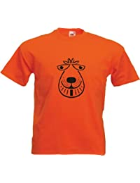 Space Hopper Mens Orange T Shirt with Black Print