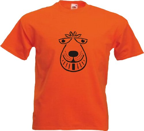 Rhino and Mugsy Space Hopper Mens Orange T Shirt with Black Print