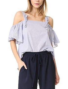 La Mujer Es Elegante Hombro Frio Flare Verano Split T Shirt Blusas Tops