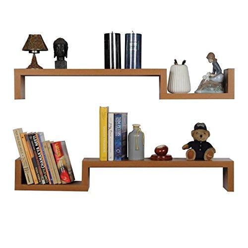 Artesia Contemporary Style Oak Wall Shelf Set Of 2
