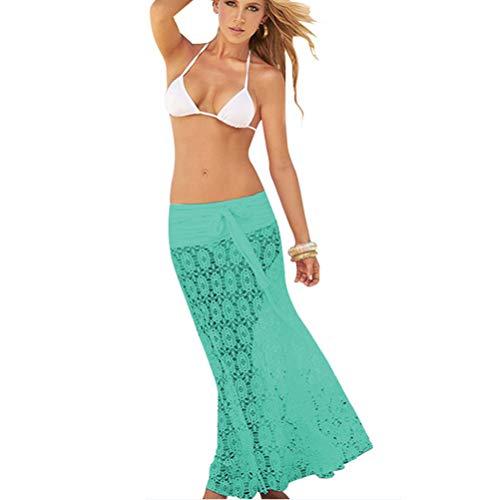 Moda Donna Vestito di Pizzo Halterneck Gonna a Portafoglio Ragazza Copricostumi e Parei Bikini Cover Up Sarong 2 Modi di Indossare (Verde)