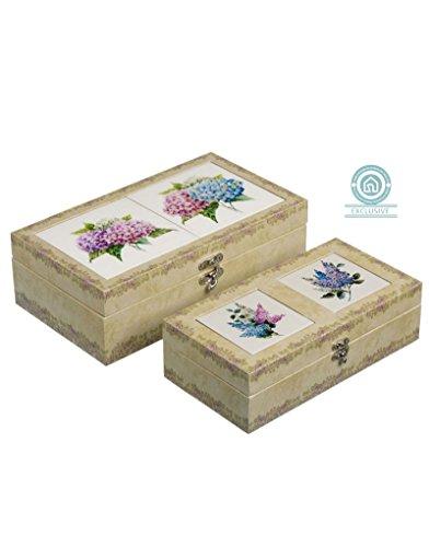 Boîte en bois et en céramique, ensemble de deux, motif floral