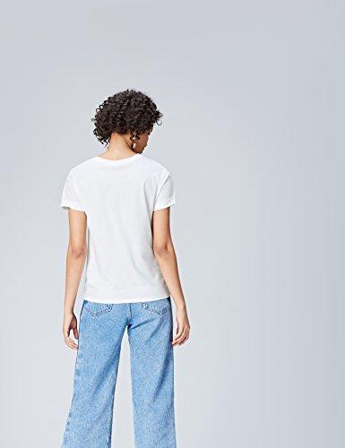 FIND T-Shirt Damen Asymmetrischer Schnitt Lockere Passform Weiß (White)