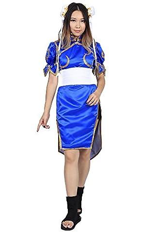 De-Cos Street Fighter II Cosplay Chun Li 1st Ver Blue Fighting Outfit Set (Street Fighter Chun Li Kostüm)