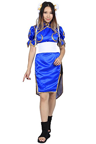 De-Cos Street Fighter II Cosplay Chun Li 1st Ver Blue Fighting Outfit Set