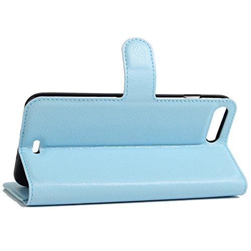iPhone 7 Plus Hülle, HualuBro [Standfunktion] [All Around Schutz] Premium PU Leder Wallet Tasche Schutzhülle Case Flip Cover mit Karten Slot für Apple iPhone 7 Plus Smartphone (Violett) Blau