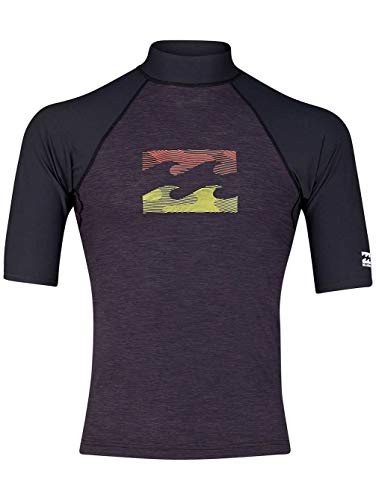 BILLABONG Herren Team Wave Kurzarm Rash Vest Top Schwarz meliert -